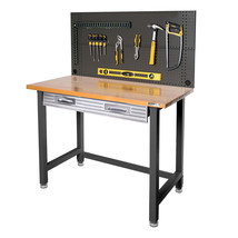 Commercial Solid Wood Top Working Table Heavy Duty With Pegboard Storage... - $258.56
