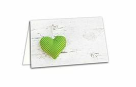 100 hell-grün weiße gepunktete HERZEN Holz-Optik blankoTischkarten Namen... - $36.74