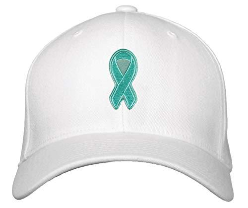 Teal Ribbon Awareness Hat - Unisex Adjustable Cap (White)