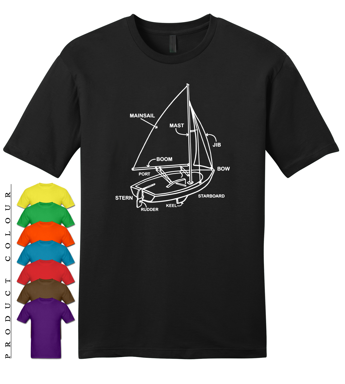 Primary image for Boat Diagram Mens Gildan Funny T-Shirt New