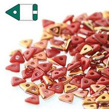 Opaque Red Sun Set Czech Glass Sead Tri Beads 4.6mm Tryangle 1.3mm Thick... - $11.72