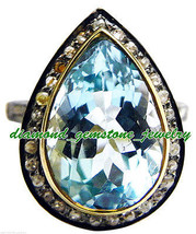 8.65ct Rose Cut Diamond Blue Topaz Antique 925 Silver Ring Mother's Day Gift - $139.01