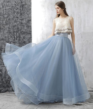 Dusty Blue Floor Length Tulle Skirt High Waisted Dusty Blue Bridesmaid Outfit image 1