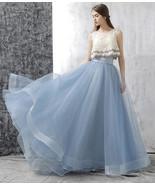 Dusty Blue Floor Length Tulle Skirt High Waisted Dusty Blue Bridesmaid O... - $65.99+