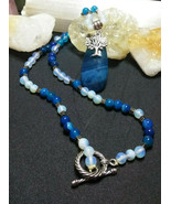 Necklace, Blue Quartz Pendant and Moonstone beads with Tree of Life - $25.74