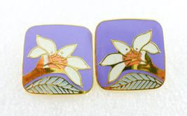"LAUREL BURCH ""Wild Lily"" Purple White Green Enamel Gold-Tone Square EARR... - $25.00"