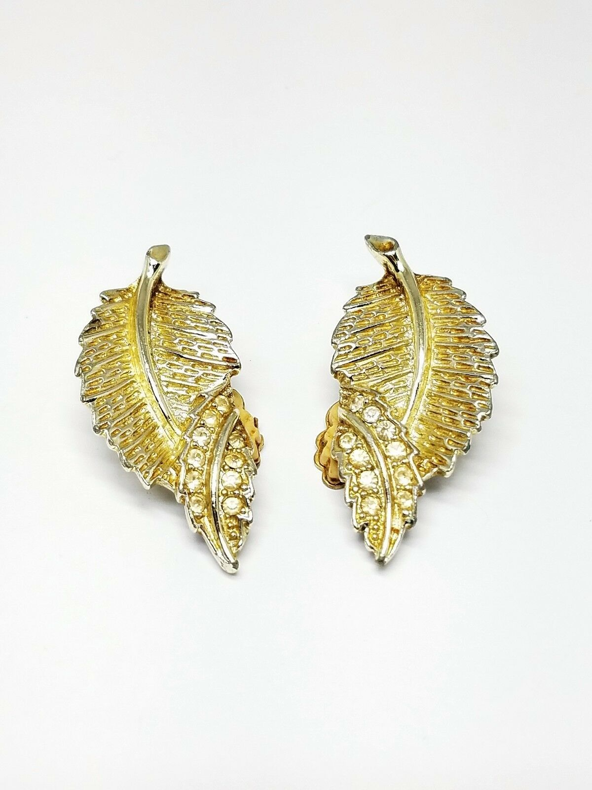 Sarah Cov Vintage Leaf Clip On Earrings with Rhinestones Lovely