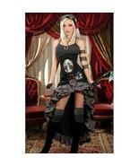 Gray Black Steampunk Victorian Long Short Front Ruffle Buckle Goth Skirt - $101.29