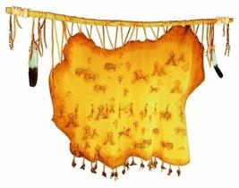 """Handmade SHOSHONE INDIAN VILLAGE Deerskin Hide Painting 40"""" x 40"""" Native... - $799.00"""
