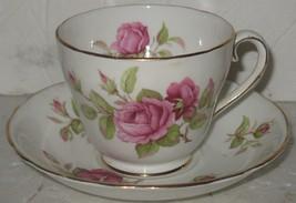 Vintage Adderley Fine Bone China Pink Roses Tea Cup & Saucer England - $28.71
