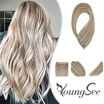 YoungSee 14inch Remy Human Hair Halo Extensions with Clips Dark Ash Brown with G image 1