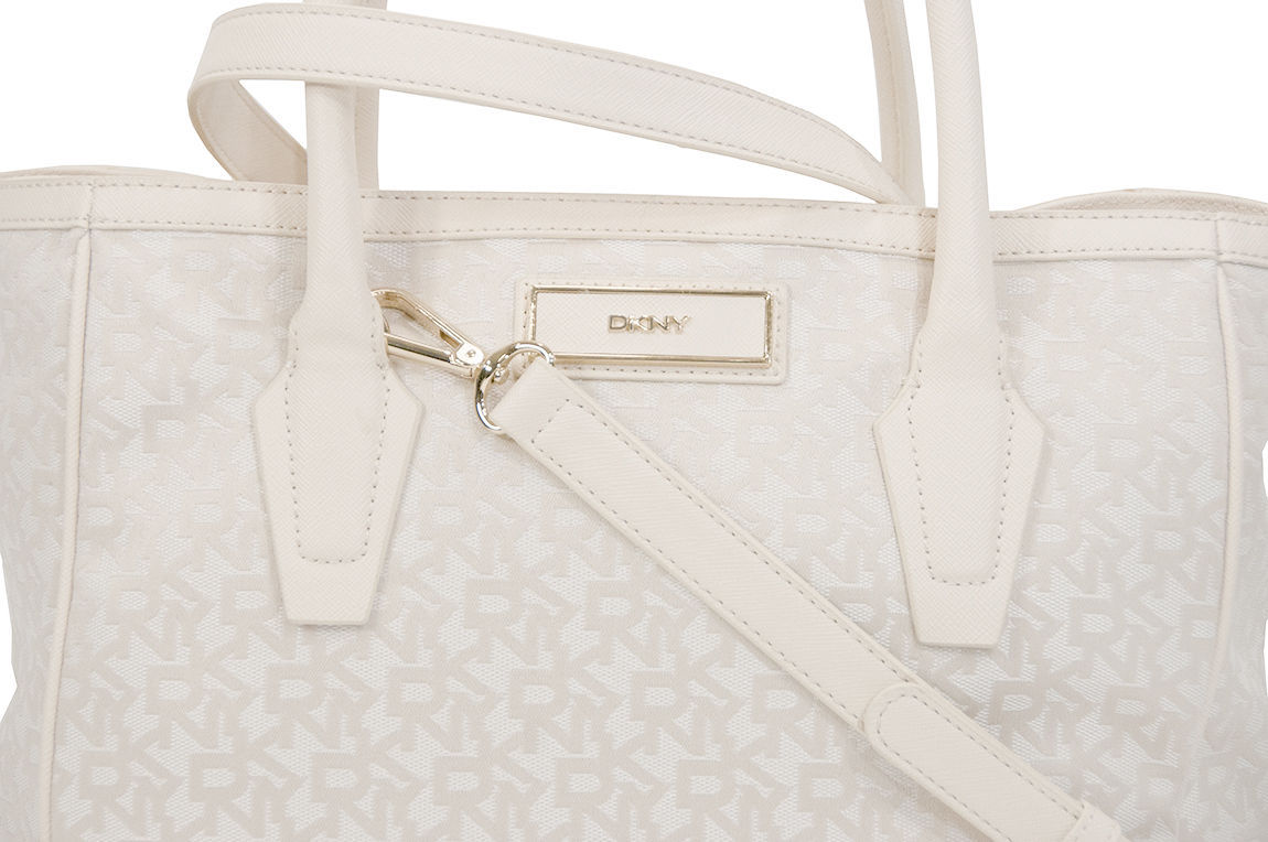DKNY Town Country Jacquard Ivory Saffiano Large Shopper Tote NWT