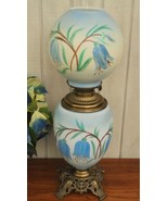 Gone With The Wind Parlor Lamp Fostoria Glass Blue & White Floral - $149.00
