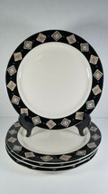 4 Homer Laughlin Seville Dinner Plates Black Border with Dots Diamonds Pattern - $14.54