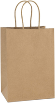 Kraft Paper Bags 100Pcs 5.25x3.75x8 Inches Small Paper Gift Bags with Ha... - $33.93