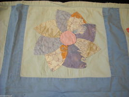 Small hand made square quilt with flowers vintage image 5