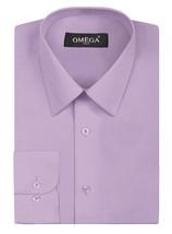 Omega Italy Men's Lilac Button Up Dress Shirt Long Sleeve Regular Fit - M