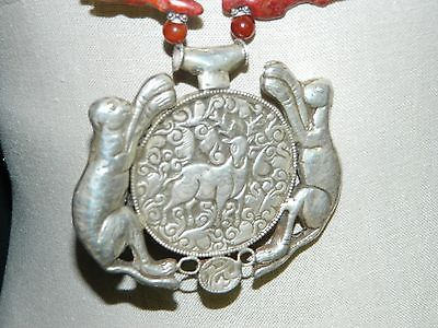 Vintage Tibetan Silver Red Coral Carnelian Jade Buddha Animal Pendant Necklace