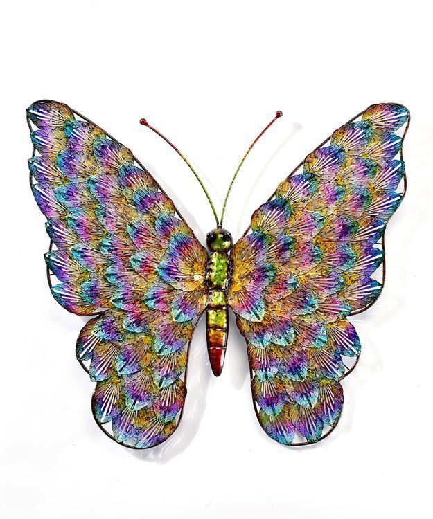 """19.75"""" Metal Butterfly Design Wall Plaque - with Rainbow Coloring"""