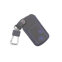 Genuine Leather Car Key Chain Smart Key Cover Case for Crosstour, Blue/Black