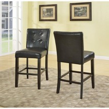 "Roundhill 24"" Blended Leather Counter Height Bar Stool with Espresso Fin... - $115.87"
