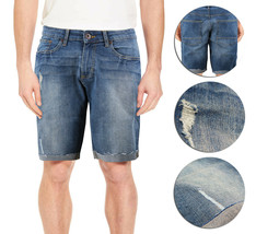 Men's Distressed Denim Light Faded Wash Stretch Ripped Casual Jean Shorts image 1