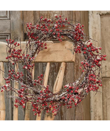 """Snowy Red Berry wreath w/glittered snow 20"""" D Christmas Floral Decor - $49.49"""