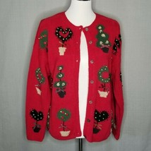 Talbots Womens PM Vintage Christmas Cardigan Hand Knit Linen Cotton - $22.26