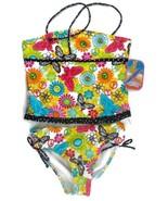 Breaking Waves Girls 2 Piece Swimsuit SZ 16 Bandeau Halter Top Brief Bottom NWMD - £7.24 GBP