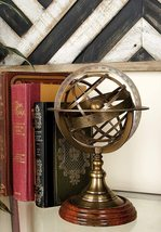 RKS Collections Antique Vintage Zodiac Armillary Brass Sphere Globe Wood... - $49.00