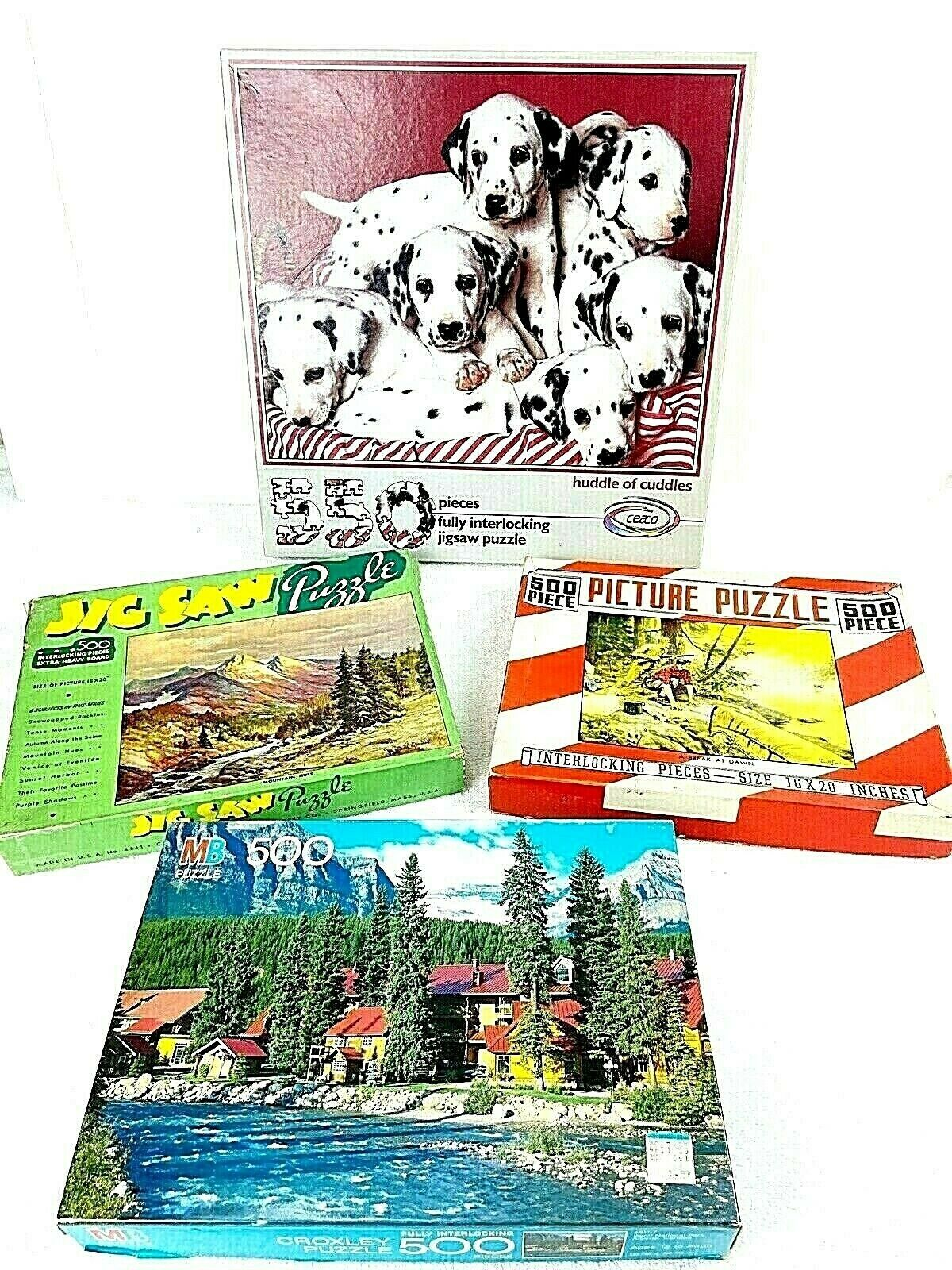 Jigsaw Puzzles Lot of 4 Variety Vintage and Modern Banff Puppies Mountains USA - $14.84