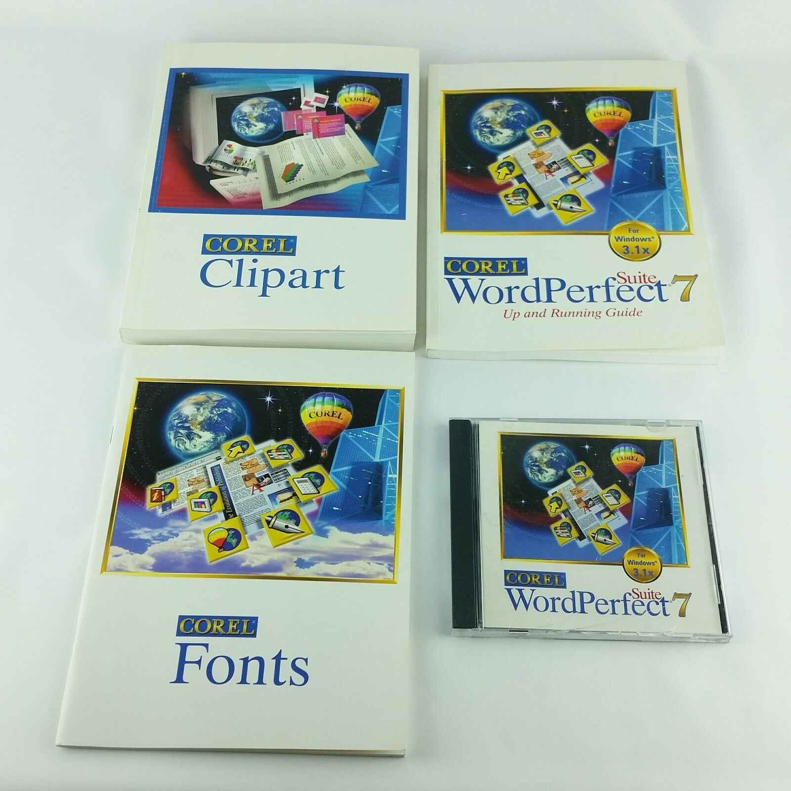 Corel WordPerfect 7 Suite Windows 3.1x  Books and CD Vintage Quattro Pro Paradox