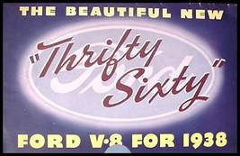 1938 Ford V-8 Sixty ORIGINAL Color Brochure 38 - $11.71