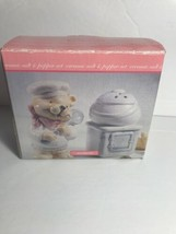 Teddy Bear SALT & PEPPER SHAKERS Ceramic Chef Hat blue spoon & bandana V... - $19.79