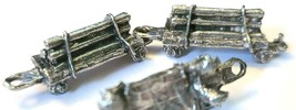 LOG CAR FIGURINE CAST WITH FINE PEWTER - Approx. 1 1/4 inch Long  (T158) image 2