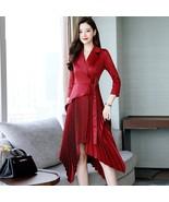 Spring summer 2019 women new temperament High waist dress lacing waist i... - $81.60