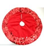 Vintage Mini Christmas Tree Skirt Red Velour w Shiny Oval Sequins Border... - $14.10