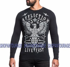 AFFLICTION Black Death A13815 New Long Sleeve Graphic Black Thermal For Men - $49.49