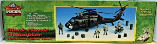 Black Hawk Helicopter 1:18 Scale Action Figure & Motorcycle Elite Operations  image 4