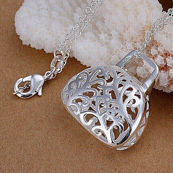 Primary image for Hollow Handbag Pendant Necklace 925 Sterling Silver NEW