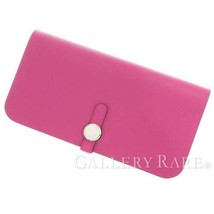 HERMES Dogon Long Togo Leather Rose purple #C Wallet France Authentic 53... - $2,077.99