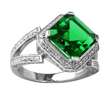 5.46CT Unique Women's Emerald Asscher Cut Sapphire Ring 14K White Gold P... - $212.00