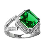 5.46CT Unique Women's Emerald Asscher Cut Sapphire Ring 14K White Gold P... - $212.00