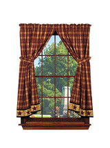 country primitive farmhouse rustic Heritage Star Wine plaid Panel curtai... - $89.95