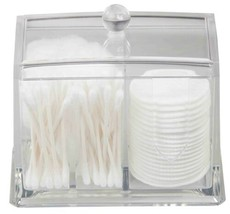 Home Basics NEW Cosmetic Cotton Swab Pad Clear Plastic Double Organizer ... - $22.27