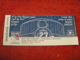 2017-18 NY Rangers Milestone Ticket Stub Henrik Lundqvist 62nd career shutout - $8.90