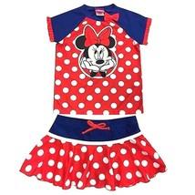 Disney Junior Minnie Mouse 2 Piece Top Skort Swimsuit Red Blue Sz 5  7 - $18.79