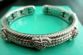 JUDITH RIPKA 925 Sterling Silver Diamonique Pave Heart Hinged Cuff Brace... - $134.95