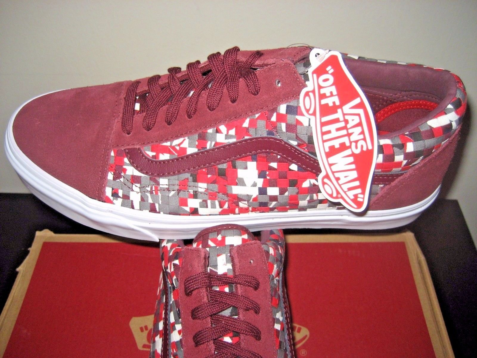 8583cc16e1 Vans Mens Old Skool DX Woven Textile Red and 50 similar items. S l1600