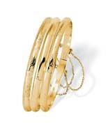 18k Gold over .925 Silver 3-Piece Bangle Bracelet Set - $177.82